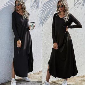 Sold side slit v neck maxi dress